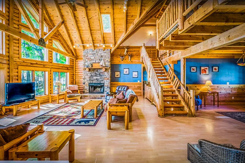 The log cabin's interior is beautiful and spacious