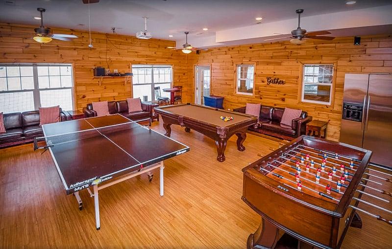 Play table tennis, billiards, or foosball in the game room