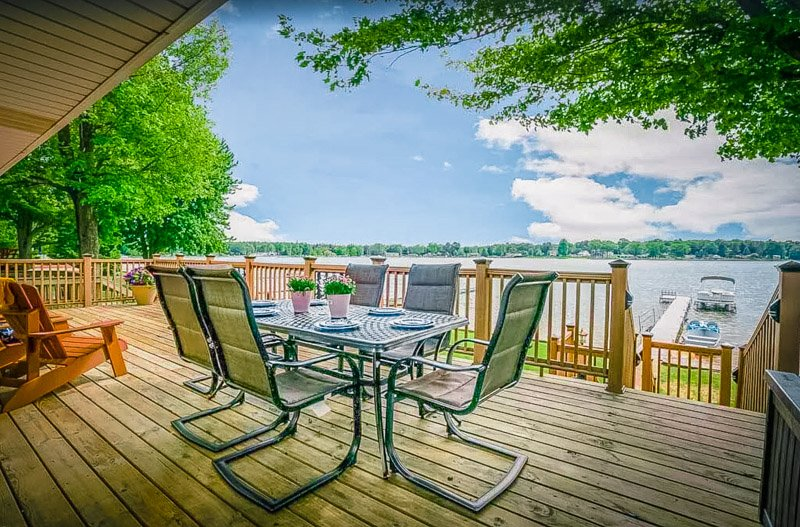 The lakeside deck is a perfect place to relax