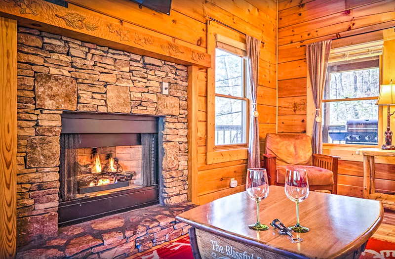 A fireplace is just one of many amenities at this affordable Pigeon Forge rental.