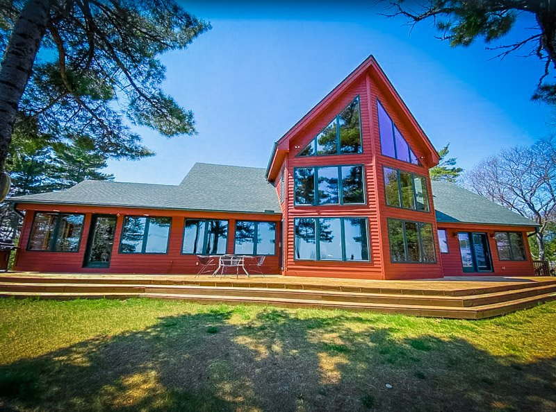 Front of one of the most unique beach houses for rent in Michigan