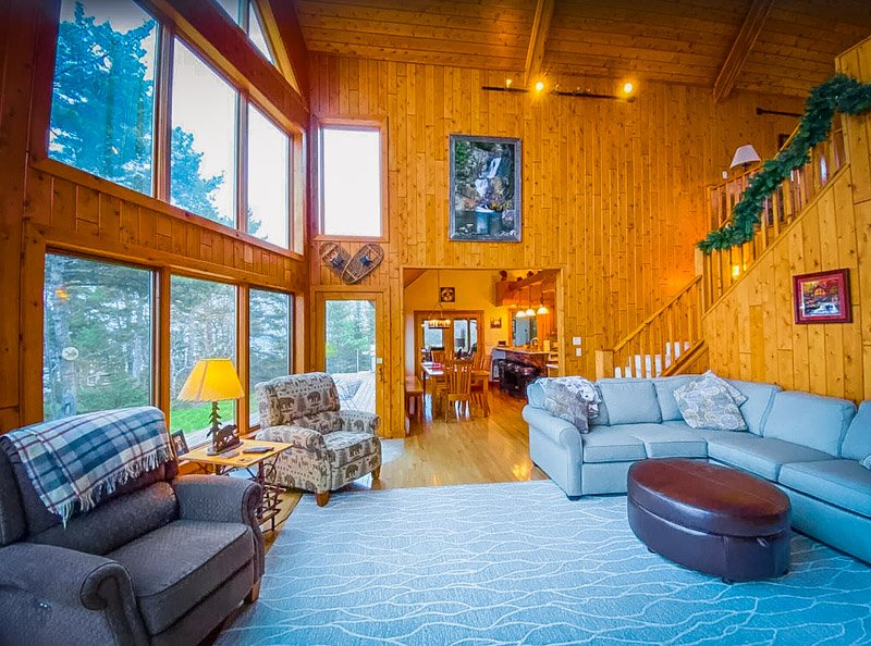 The multi-story cabin is very spacious