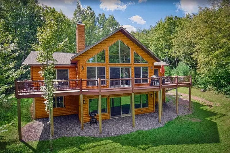 shot of the beautiful wisconsin lake house