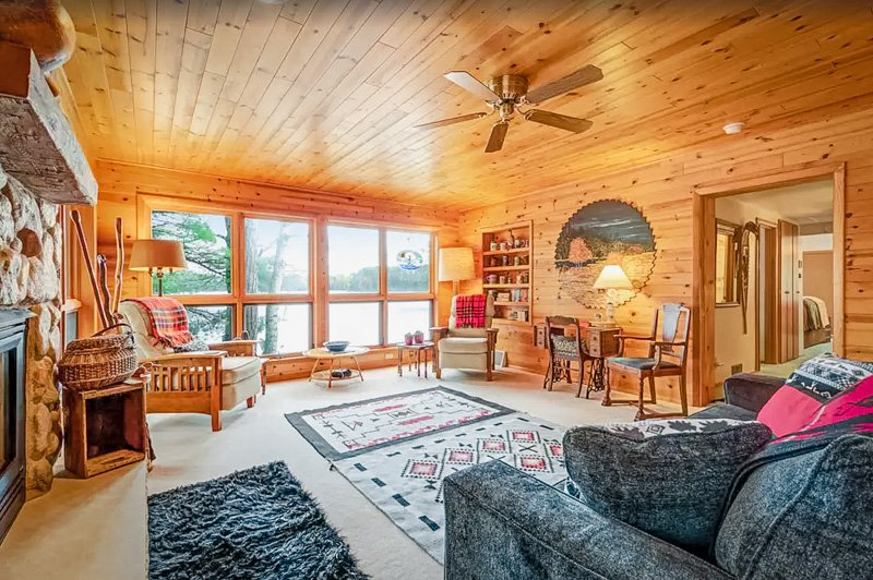 living area of the wisconsin lake house