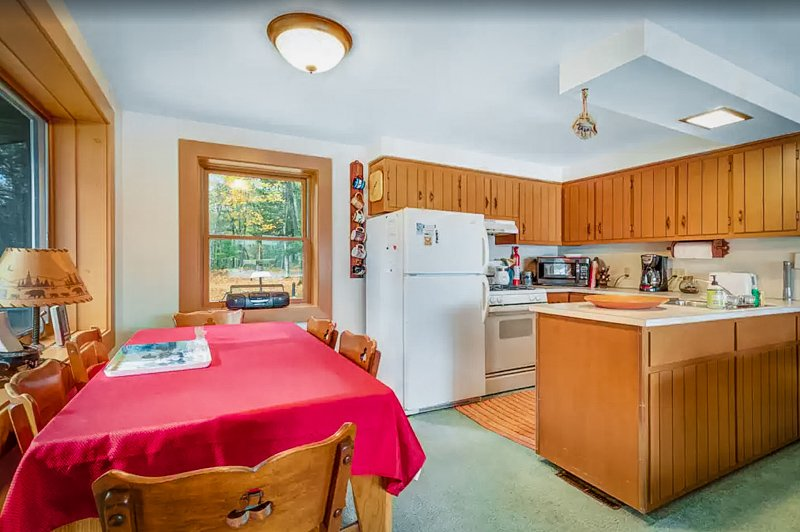 kitchen area of the wisconsin lake house