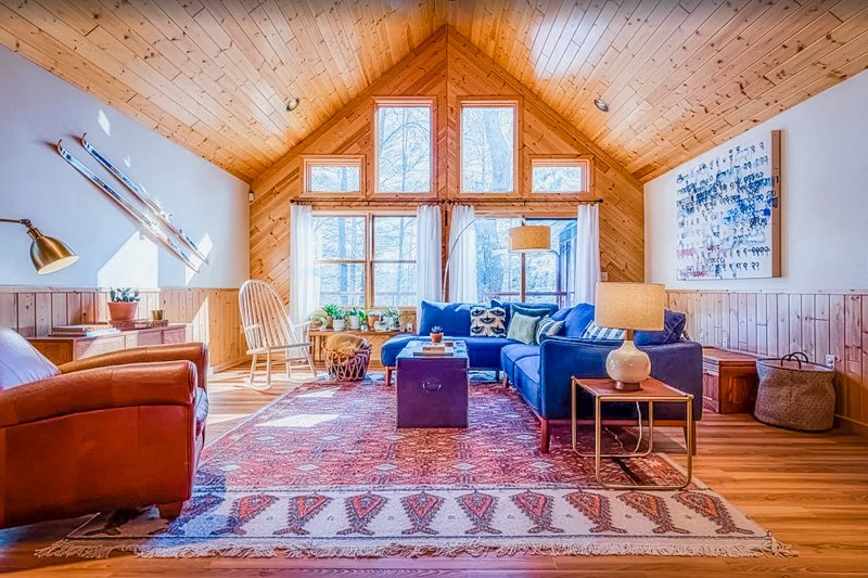 living area of this cabin on a lake in wisconsin