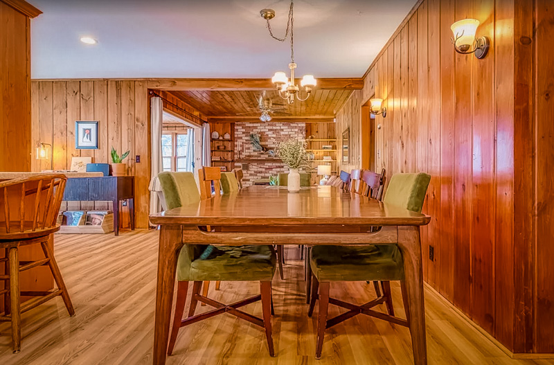 eating area of the cabin on a lake in wisconsin