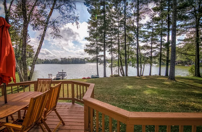 view from the deck of this lake house in wisconsin